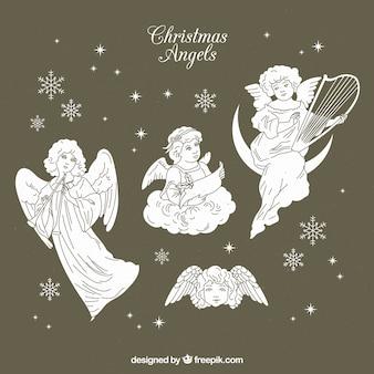 Piękne szkice świątecznych aniołów