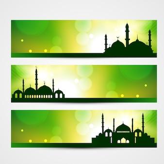 Piękne sztandary ramadan kareem i eid