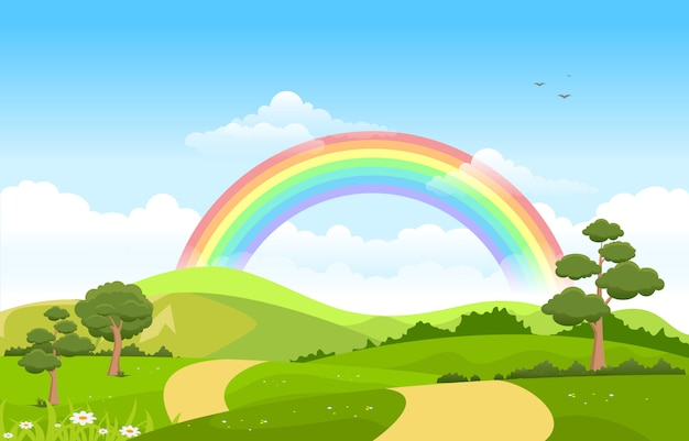 Piękne tęczowe niebo z zieloną górską przyrodą