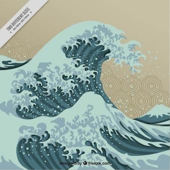 Piękne tła fala w stylu japońskim