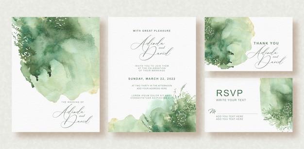 Piękne tło akwarela karty ślub z pluskiem i blaskiem zieleni