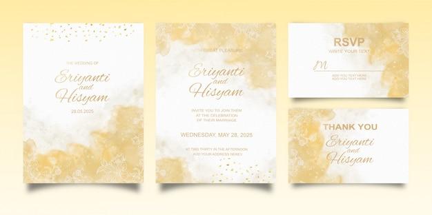 Piękne tło akwarela karty ślub z splash i kwiatowy linie