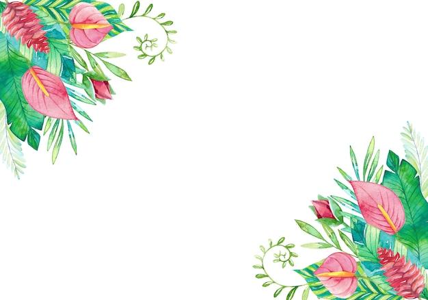 Piękne tło akwarela z ręcznie malowanymi liśćmi