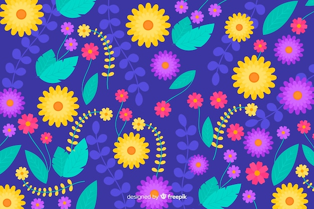 Piękne tło kolorowych kwiatów
