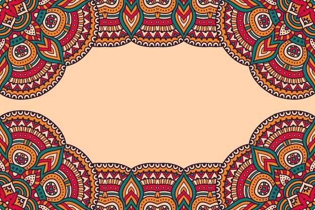 Piękne tło ozdobione kolorową ramą mandali