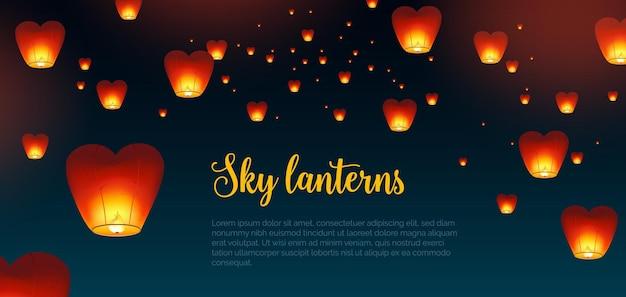 Piękne tło poziome z chińskimi lampionami kongming i miejscem na tekst. tło z tradycyjnymi dekoracjami powietrznymi festiwalu azjatyckiego w ciemnym nocnym niebie. ilustracja wektorowa kolorowe.