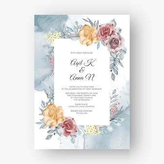 Piękne tło ramki róż na zaproszenie na ślub z miękką pastelową jesienią