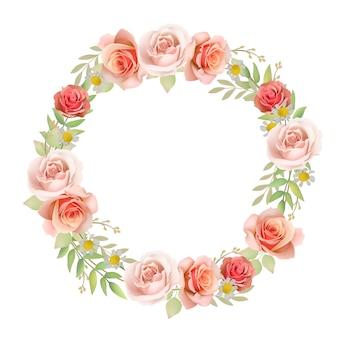 Piękne tło ramki z róż kwiatowy