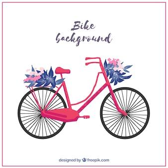 Piękne tło roweru z ozdoba kwiatu