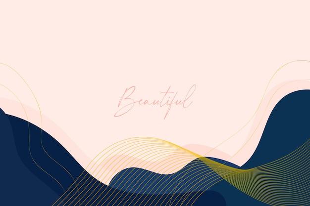 Piękne tło z organicznymi kształtami i złotymi liniami