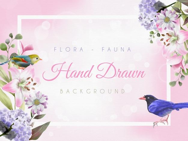 Piękne tło z ręcznie rysowanym motywem flory i fauny