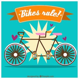 Piękne tło z tandemowym rowerem