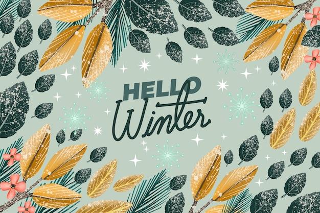 Piękne tło zima akwarela z pozdrowieniami