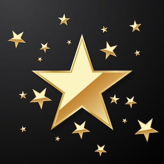 Piękne tło złotej gwiazdy ustawione do dekoracji różnych uroczystości