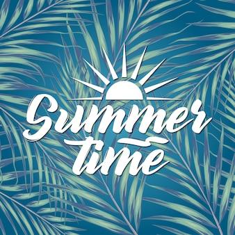 Piękne tropikalne liście z napisem na rozmycie tła. ilustracja koncepcja lato