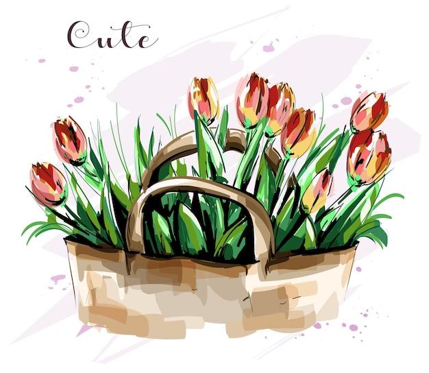 Piękne tulipany w koszyku