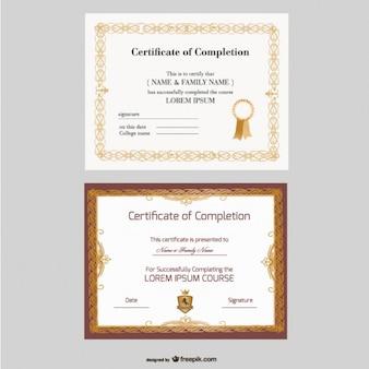 Piękne wektor szablony certyfikat