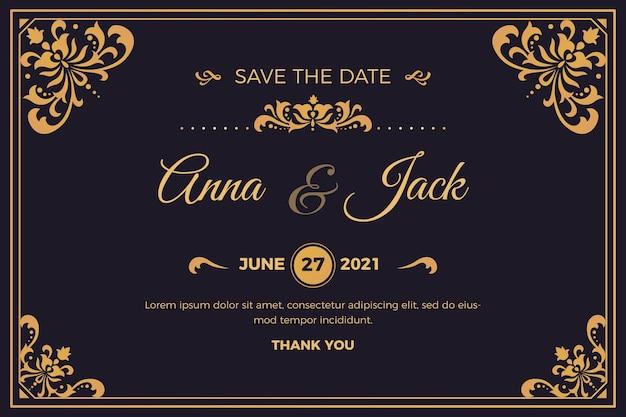 Piękne wesele zaproszenie retro