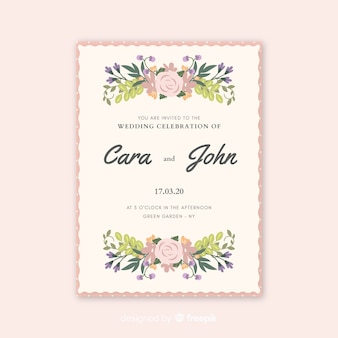 Piękne wesele zaproszenie z akwarela kwiaty