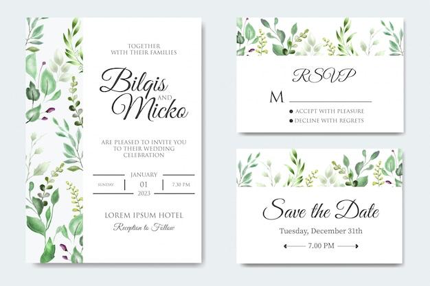 Piękne wesele zaproszenie z kwiatowymi liśćmi