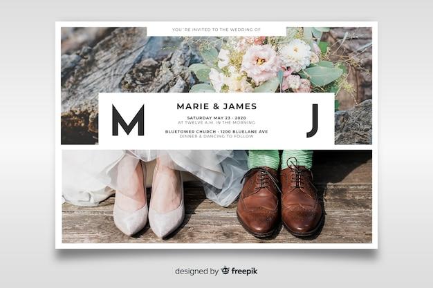 Piękne wesele zaproszenie z szablonem fotograficznym