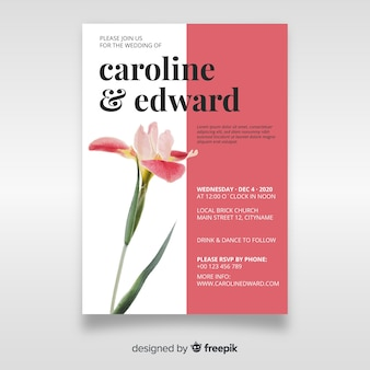 Piękne wesele zaproszenie z szablonu kwiat