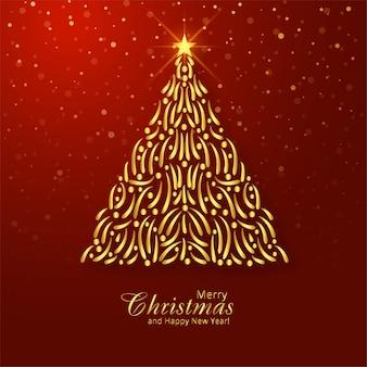 Piękne wesołych świąt bożego narodzenia złote drzewo festiwal karty tło