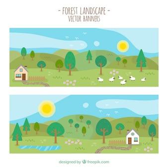 Piękne wiosenne krajobrazy banery