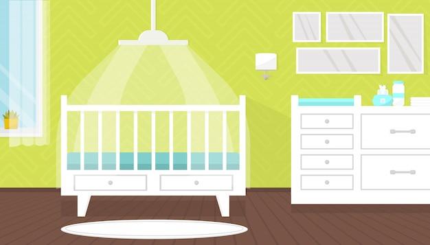 Piękne wnętrze pokoju dziecięcego z meblami. łóżeczko z baldachimem dla noworodka, przewijaka, komody. żłobek, dom. płaska ilustracja.