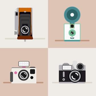 Piękne zabytkowe kamery w płaskiej konstrukcji
