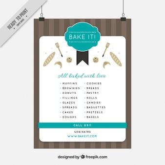 Piękne zabytkowe menu piekarnia plakat