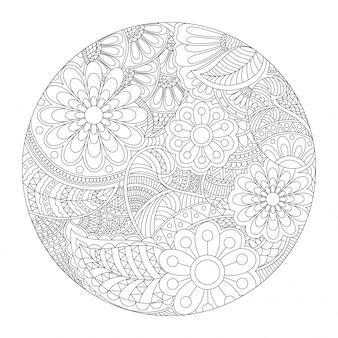 Piękne zaokrąglone projektu mandala z etnicznych kwiatów wzorkiem, zabytkowe element dekoracyjny do kolorowania książki.