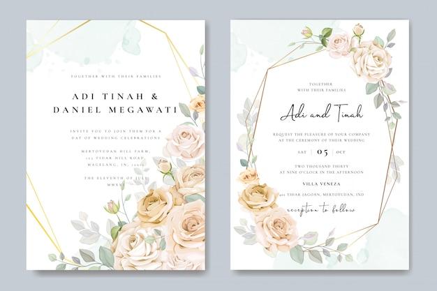 Piękne zaproszenia ślubne ramki kwiatowy