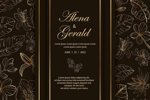 Piękne zaproszenie na luksusowe złote karty ślubne w twardej oprawie