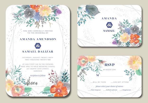 Piękne zaproszenie na ślub kwiatowy i liści akwarela