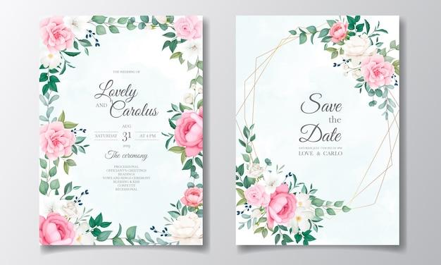 Piękne zaproszenie na ślub kwiatowy i liści