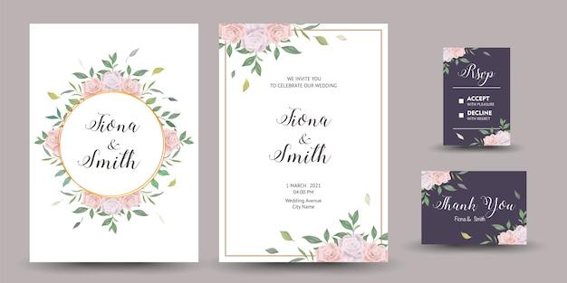 Piękne zaproszenie na ślub lub kartkę z życzeniami z kwiatowym wzorem.