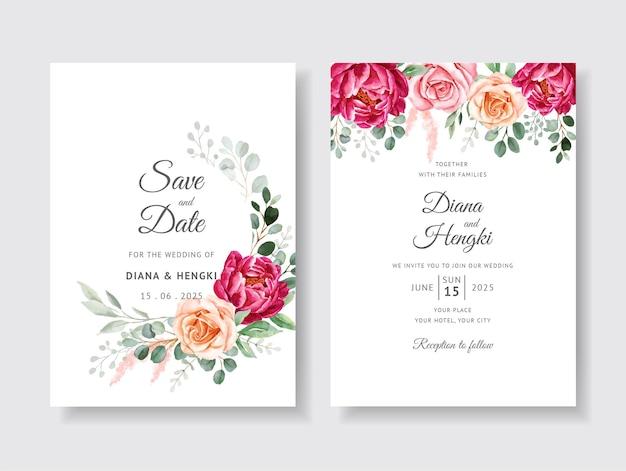 Piękne zaproszenie na ślub z akwarela kwiatowy