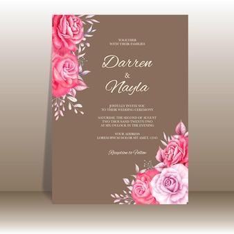 Piękne zaproszenie na ślub z czerwonymi i fioletowymi różami