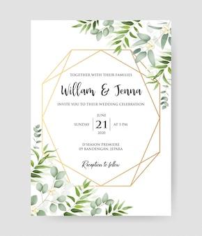 Piękne zaproszenie na ślub z geometryczną złotą ramą i dekoracyjnym wieńcem i wzorem eukaliptusa.