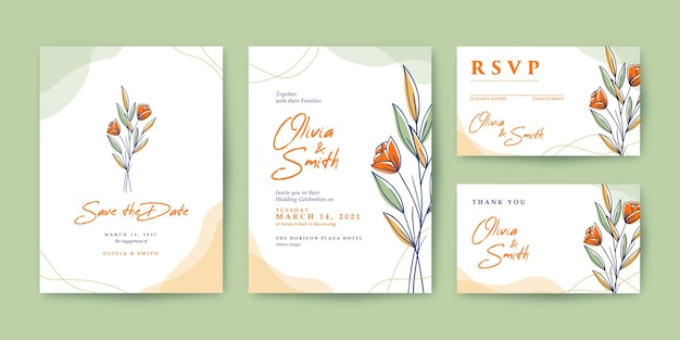 Piękne zaproszenie na ślub z kolorowym kwiatem
