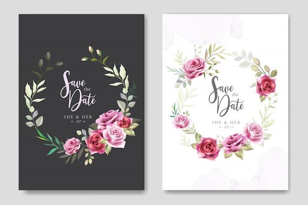 Piękne zaproszenie na ślub z kwiatowymi i liśćmi