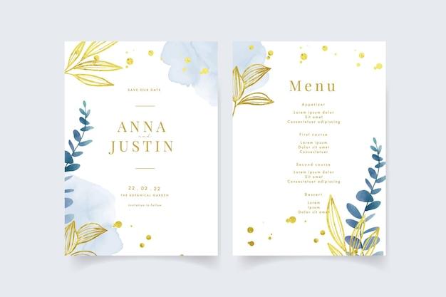Piękne zaproszenie na ślub z liśćmi eukaliptusa