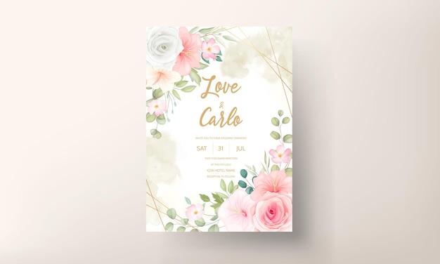 Piękne zaproszenie na ślub z pięknymi kwiatami