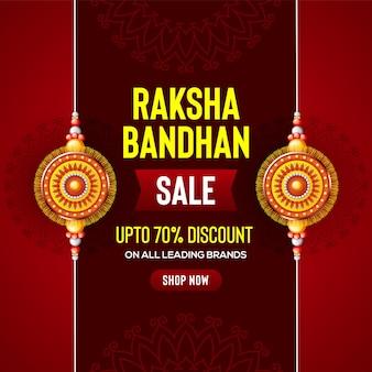 Piękne zdobione rakhi na czerwonym tle dla ilustracji wektorowych sprzedaży raksha bandhan