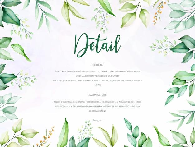 Piękne zielone liście akwarela szablon karty ślubu