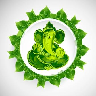 Piękne zielone tło koncepcji karty ganeśćaturthi