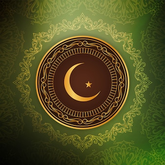 Piękne zielone tło religijne eid mubarak