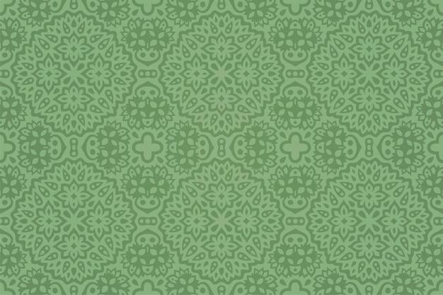 Piękne zielone tło z abstrakcyjnym, ręcznie rysowanym kwiatowym wzorem bez szwu