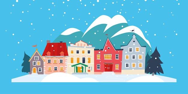 Piękne zimowe śnieżne miasto z przytulnymi domami w górach krajobraz na białym tle projekt. ilustracja kreskówka płaski wektor. do banerów, zaproszeń, opakowań, afisz, kartek, ulotek.